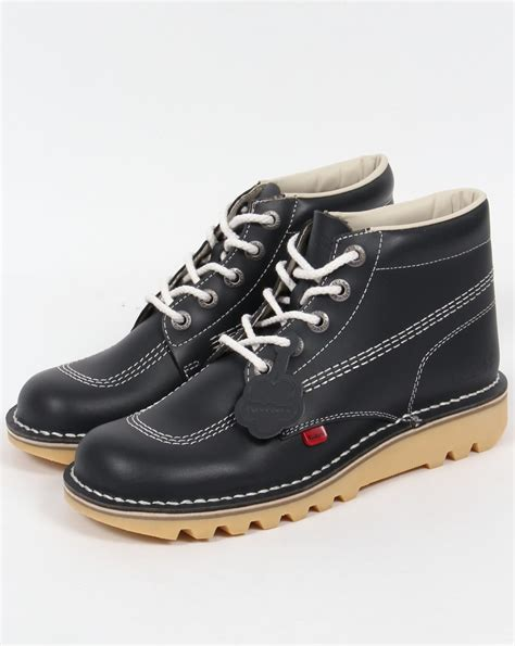 shoes kickers kickers kick hi boots in leather navy kickers from 80s