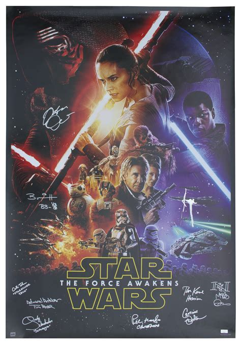 Bantal Wars The Awakens 40 X 40 lot detail wars the awakens cast signed poster measuring 27 x 40 signed