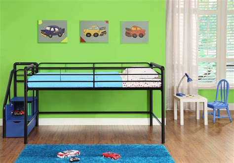 kids low loft bed metal low loft bunk bed with stairs and storage for kids