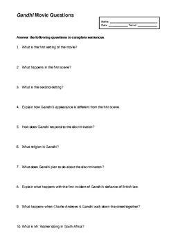 gandhi biography questions gandhi worksheet geersc