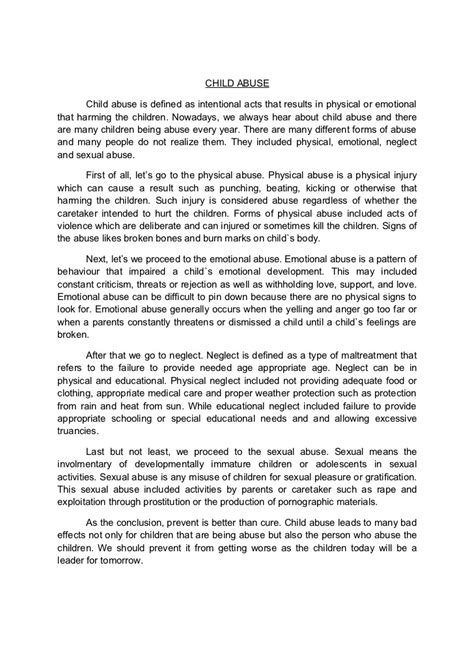 Childhood Experience Essay by Child Abuse New Essay