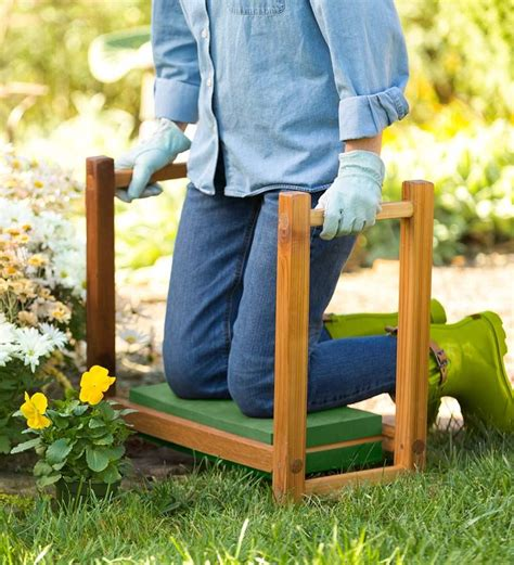garden kneeling bench with handles usa made cedar garden kneeler seat garden tools