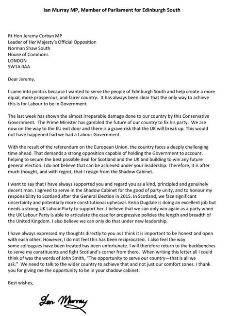 Resignation Letter Heavy Labour Mp Shadow Cabinet Resignation Letters Ranked Vice United Kingdom