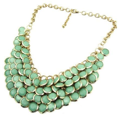Chunky Gems Metal Collar Necklace green chunky multi layers resin gem statement