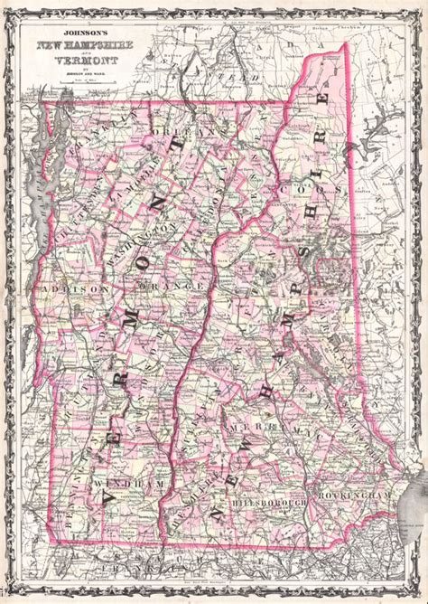 map of maine and nh antique maps of maine vermont and new hshire