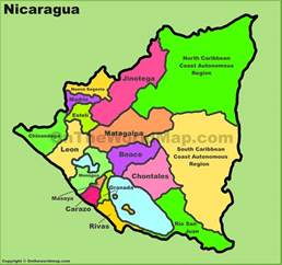 nicaragua south america map administrative divisions map of nicaragua