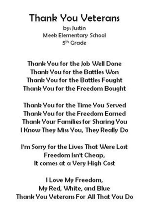 Thank You Letter For Veterinary School Veterans Day Thank You Poems Meek Elementary School Images News Magazines And