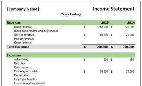 Free Accounting Templates In Excel Income And Expense Statement Template