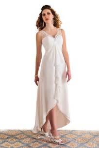 simple v neck sleeveless high low lace chiffon wedding