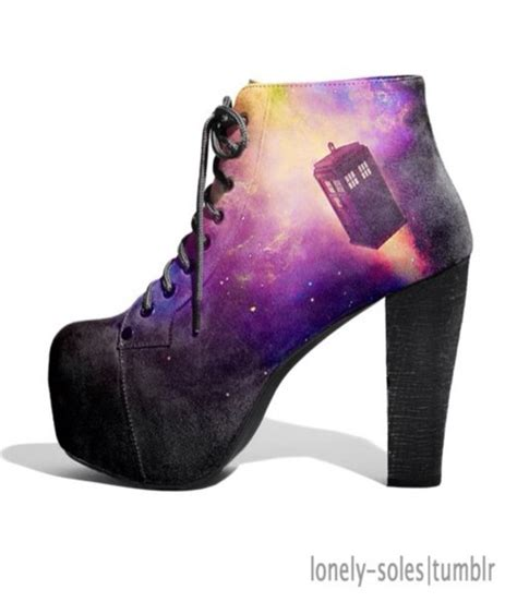black and purple high heels shoes tardis galaxy print platform shoes platform high