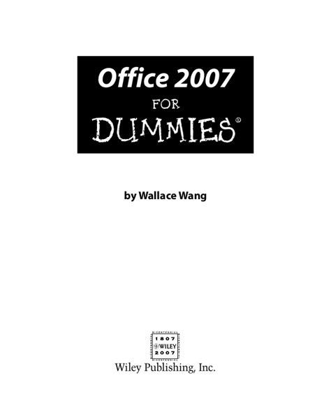 Microsoft Office For Dummies by Microsoft Office 2007 For Dummies