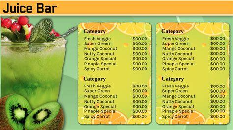 Juice Menu Template Restaurant Signage Templates Signagecreator