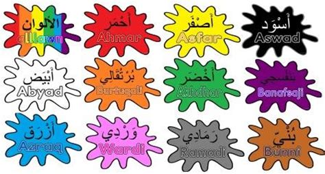 colors in arabic instant display teaching resources free and low cost