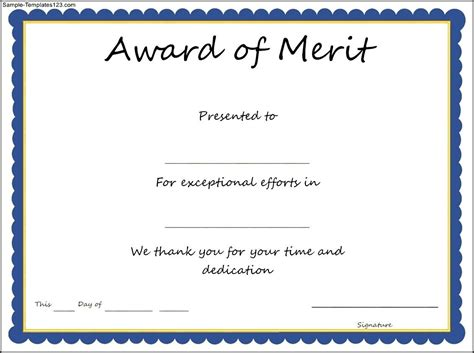 merit certificate template award of merit certificate template sle templates