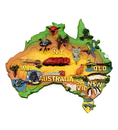 Magnet Kulkas 3d Australia Melbourne Sydney resin australia map shape magnet australia the gift australian souvenirs gifts