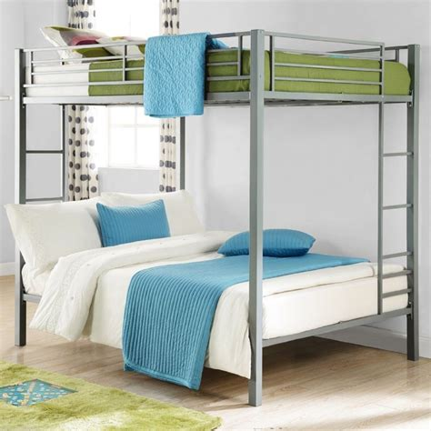 full  full metal bunk bed silver kids bedroom furniture double bunkbeds  ebay