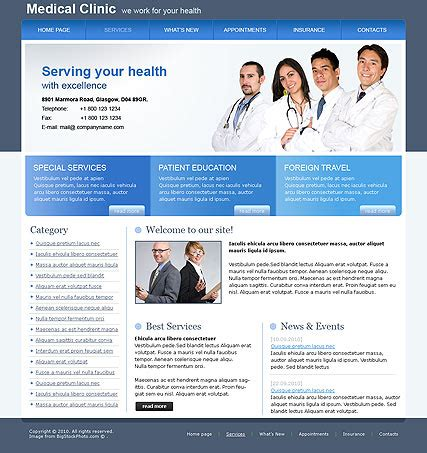 templates for medical website medical clinic free html template id 300076030 from
