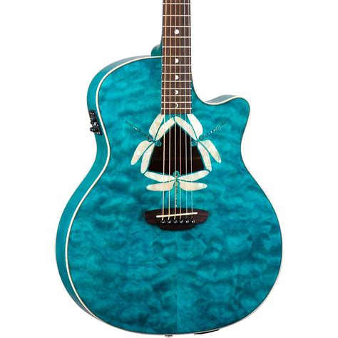 Quilted Top Guitar by Guitars Fauna Dragonfly Acoustic Electric Guitar