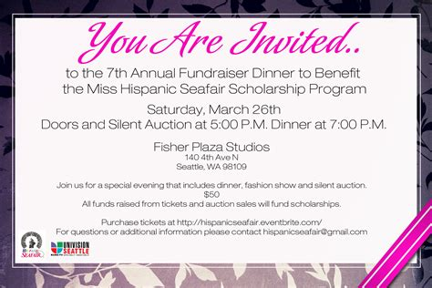 Fundraising Dinner Invitation Letter Sle Miss Hispanic Seafair Fundraising Dinner Fashion Show And Silent Auction Tickets Sat Mar 26