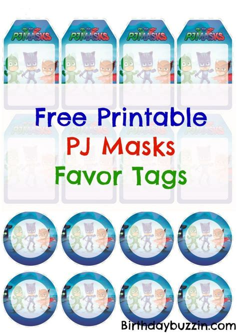 printable birthday supplies free printable pj masks favor tags pj masks party favors