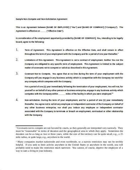 employee non compete agreement template 11 employee non compete agreement templates free sle