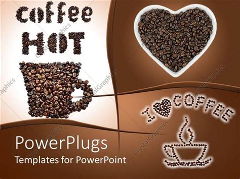 Powerpoint Template Collage Of Hot Coffee Depictions Of Coffee Cup Made Of Coffee Beans Coffee Coffee Powerpoint Template