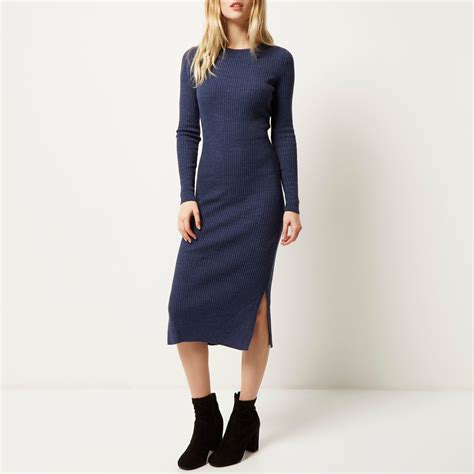 navy blue knitted dress river island navy knitted sleeve midi dress in blue