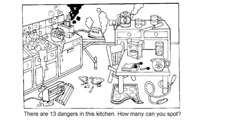 this kitchen is a very dangerous place how many dangers