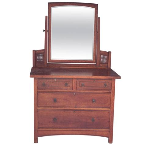 Oak Dresser Mirror by Arts And Crafts Mission Oak Dresser With Original Mirror