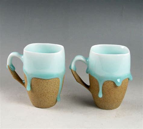 Handmade Cups - two celadon flowed glaze with porcelain base cups mug