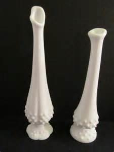 Fenton Milk Glass Vases Fenton White Hobnail Milk Glass Bud Vases Pair Vintage 1950s