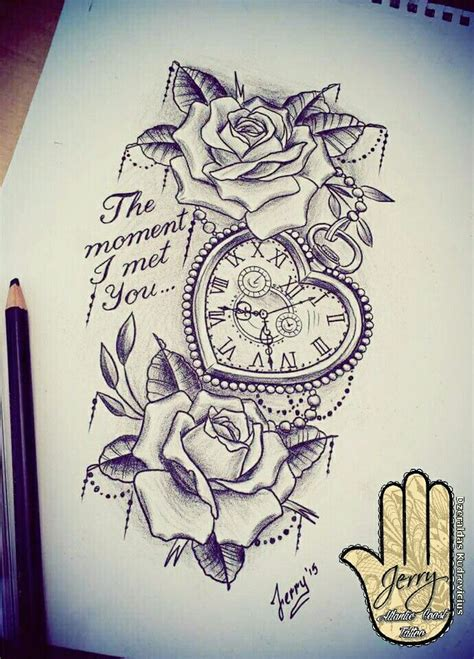 design mom on instagram heart shaped pocket watch with rose tattoo design idea