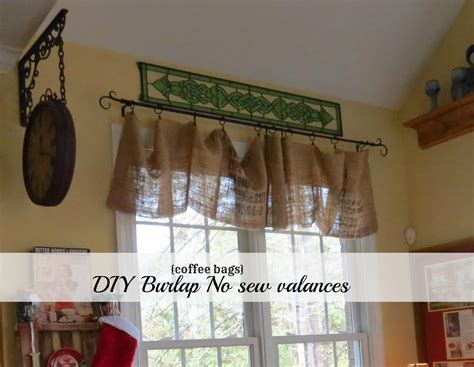How To Make Burlap Valance diy no sew burlap kitchen valances made from coffee bags debbiedoo s