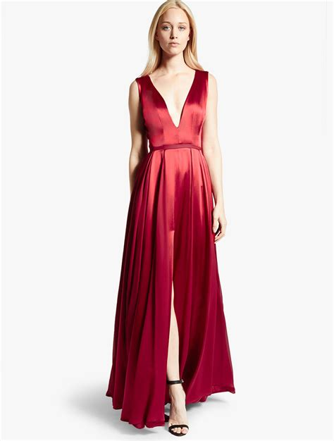 Opulent Clothing Halston Satin Georgette Gown In Red Crimson Lyst