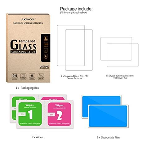 New 3ds Xl Gatz Tempered Glass Protector akwox 2 in 1 9h tempered glass top lcd screen protector