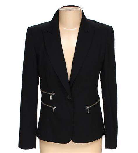 Blazer Zipper Black B michael kors black blazer jacket with zipper detail size 6