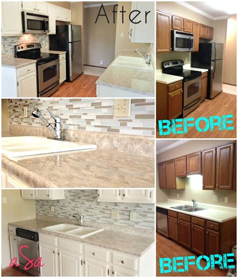kitchen tile paint ideas before and after 300 kitchen transformation backsplash