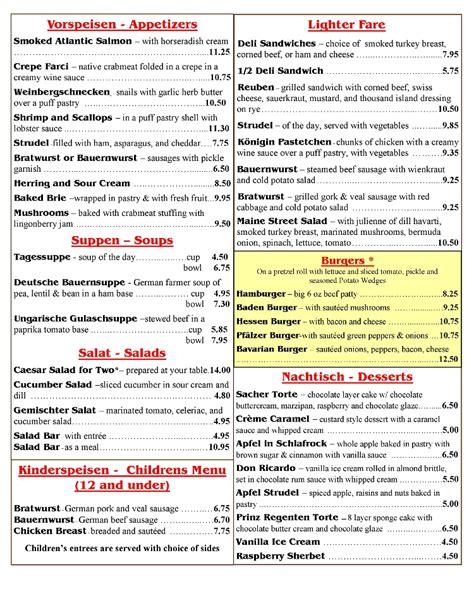 German Pantry Menu by German American Cuisine