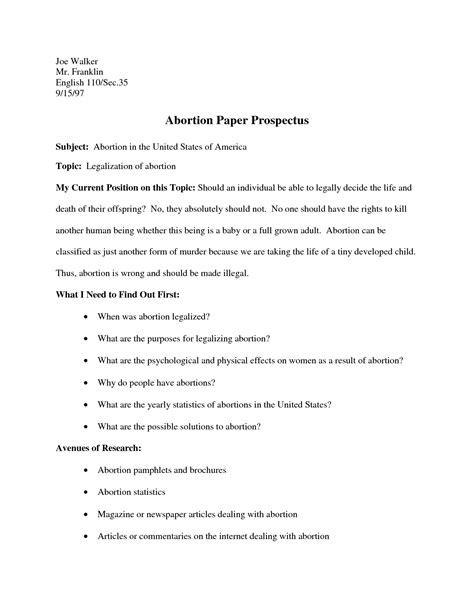exle of research prospectus paper business