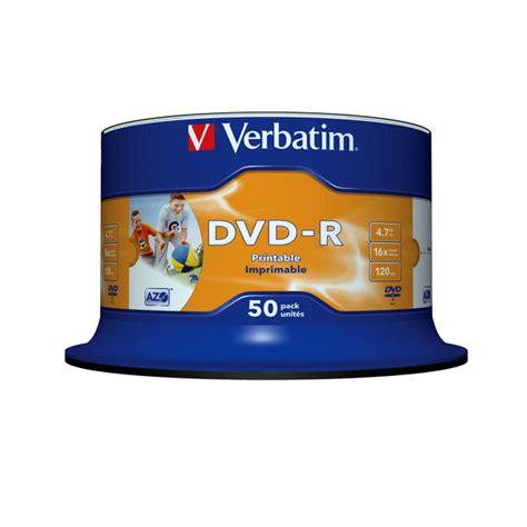 Dvd Verbatim Dvd R Verbatim 50 Pcs Per Spindle dvd r 16x 4 7go x50 imprimable jet d encre verbatim en spindle 50 pcs prix bas