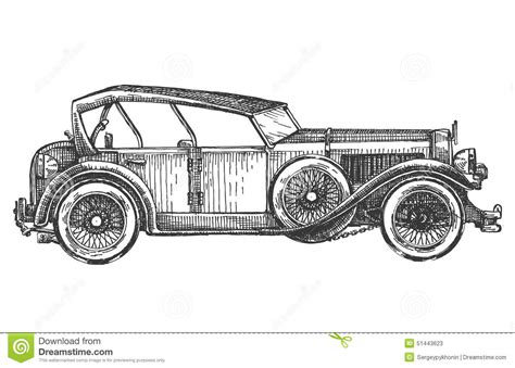 vintage cars drawings vintage car on a white background sketch stock