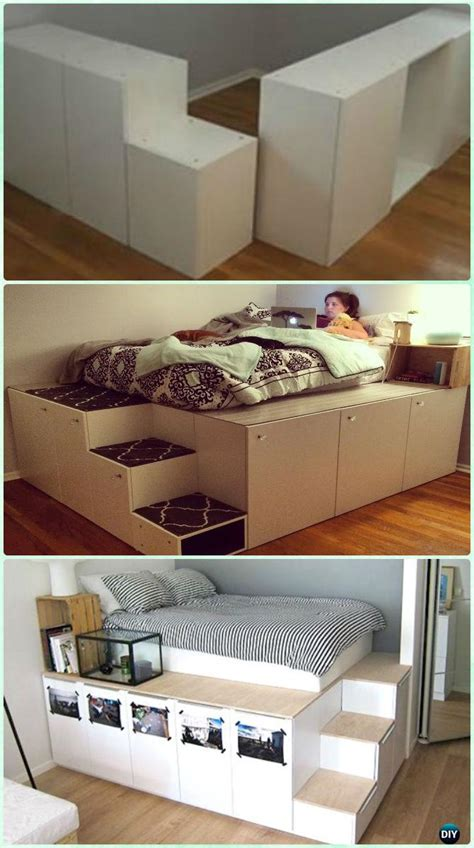 attractive ikea platform beds and diy space saving bed