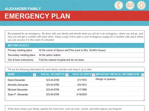 Family Emergency Plan Office Templates Family Emergency Plan Template