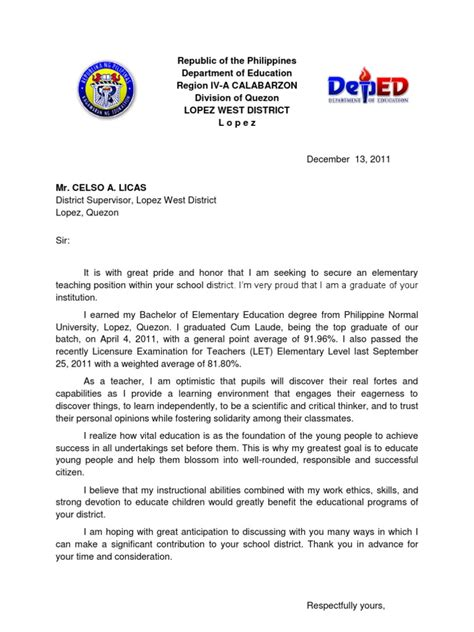 application letter exle for teachers application letter philippines