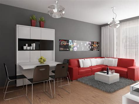 Modern Apartment Design With Red Interior Ideas From Interior Design For Studio Apartments