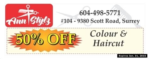 haircut coupons surrey bc colour haircut 50 off at ann stylz health beauty