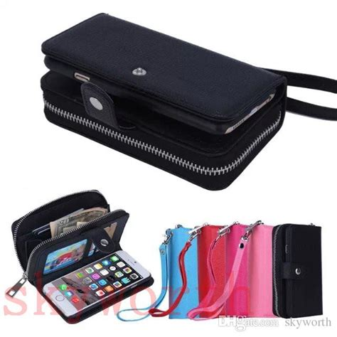 Jual Clutch Wristlet Mirror Quality flip leather wallet photo card slot pouch for iphone