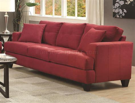 coaster samuel sofa samuel sofa in crimson fabric by coaster 505185 w options