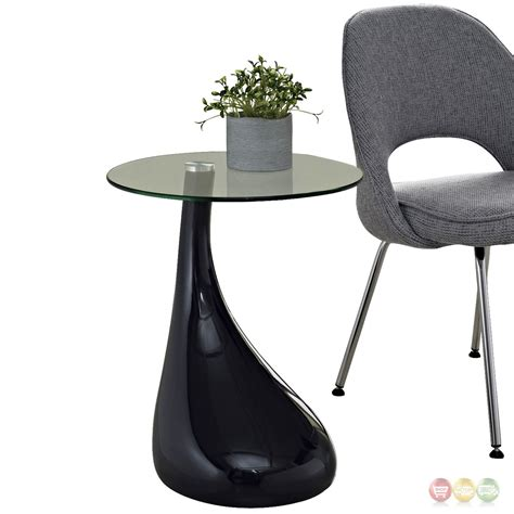 Glass Top Side Table Teardrop Modern Shapely Side Table With Glass Top Black