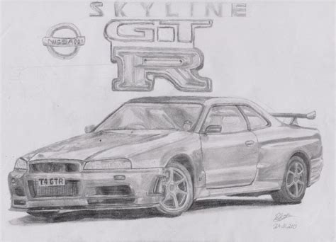 nissan skyline drawing outline nissan skyline gtr r34 by footiedavana on deviantart